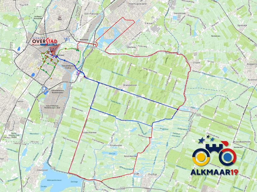 Plattegrond EK Wielrennen Alkmaar 2019